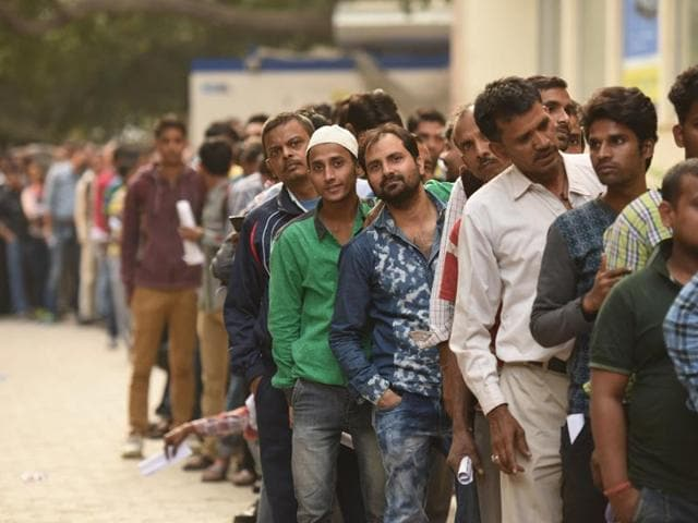 Many skip their offices to stand in long queues to exchange their old Rs 500 and 1000 notes and withdraw cash from the ATM .