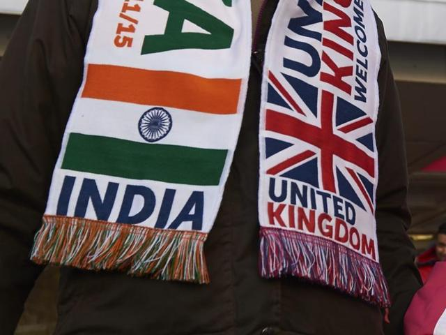 File photo of a scarf worn by an Indian-origin man at a welcome rally for Prime Minister Narendra Modi at Wembley Stadium in London on November 13, 2015.