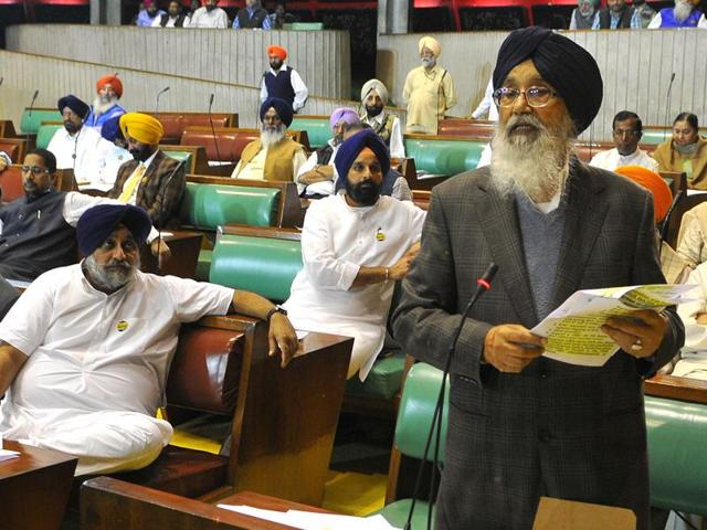 Punjab CM Parkash Singh Badal addressing the special assembly session at the Vidhan Sabha in Chandigarh on Wednesday, November 16.