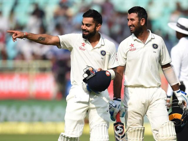 After the openers went out cheaply, India skipper Virat Kohli (left) and Cheteshwar Pujara got together to build a 226-run partnership that put India not just on a path of recovery but that of dominance in Visakhapatnam.