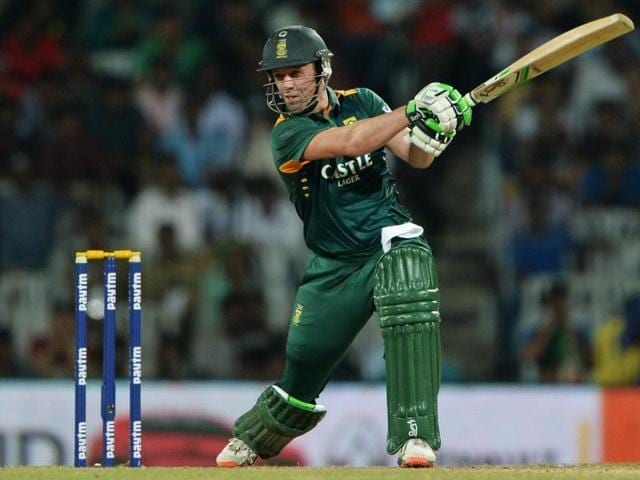 South African captain and batsman AB de Villiers plays a shot.