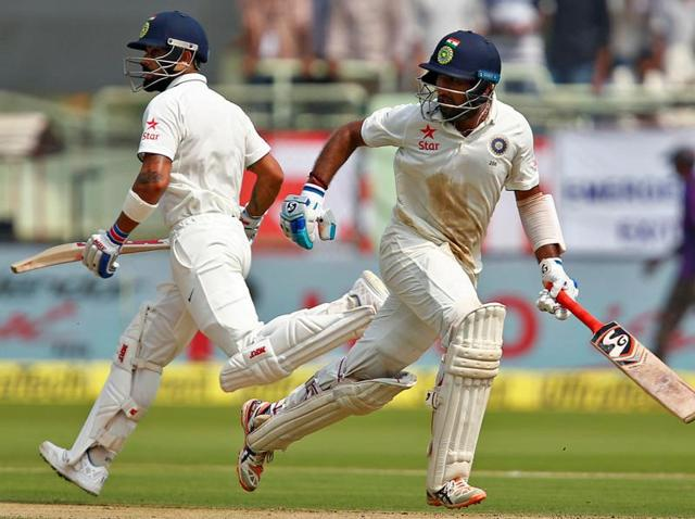 India's Virat Kohli plays a shot.