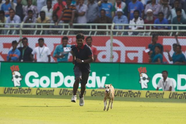 A dog runs on the pitch during day one of the 2nd test match between India and England in Vizag.