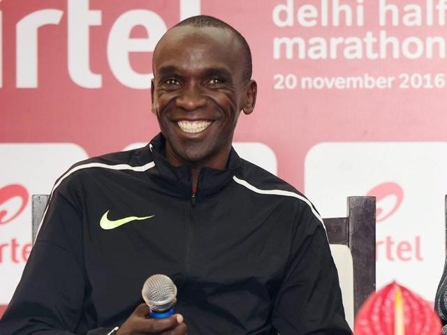 Rio Olympic marathon gold medallist Eliud Kipchoge, bronze medalist in the Men's T-42 High Jump at the Rio Paralympics Varun Bhati and Kenyan female long-distance runner Peres Jepchirchir at a promotional event on Thursday.