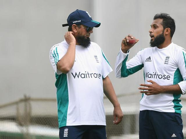 Mentoring a talented line-up of England spinners led by Adil Rashid (right) is Pakistan spin great Saqlain Mushtaq.