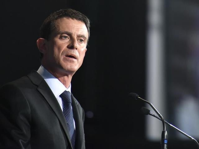 French Prime Minister Manuel Valls delivers his speech at economic forum organised by German newspaper Sueddeutsche Zeitung at the Hotel Adlon in Berlin.