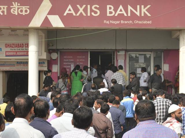 Long queues persisted outside banks and ATMs in Noida as well as Ghaziabad on Wednesday.