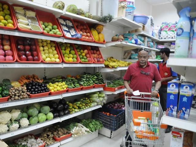 A daily needs shop in Sector 90. On Thursday, there was scarcity of perishables because of depletion of cash in the transport business.