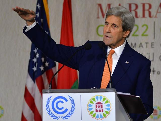 US secretary of state John Kerry gives a speech at the COP22 Climate Change Conference in Marrakech, Morocco.