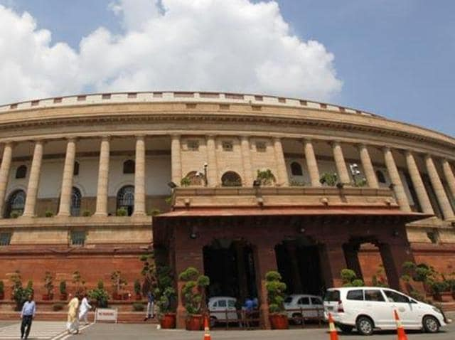 Opposition members protest against the government in the Rajya Sabha on Thursday.