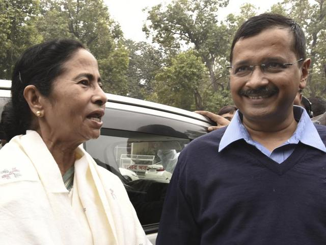 West Bengal chief minister Mamata Banerjee with her Delhi counterpart Arvind Kejriwal at Parliament House in New Delhi.