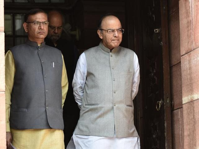 Minister of state for civil aviation Jayant Sinha with finance minister Arun Jaitley at the Parliament House on Thursday.