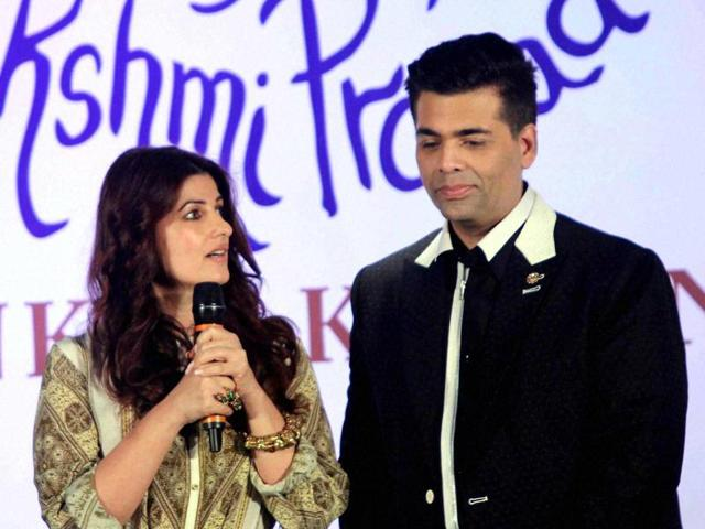 Twinkle Khanna and filmmaker Karan Johar at the book launch of 'The Legend of Lakshmi Prasad', a collection of four short stories by author Twinkle.