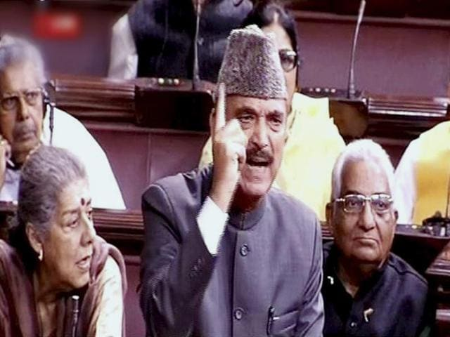 Leader of Opposition Ghulam Nabi Azad speaks in Rajya Sabha during the winter session of Parliament in New Delhi.