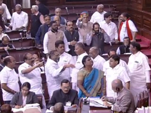 Opposition members enter Well of the house in Rajya Sabha.