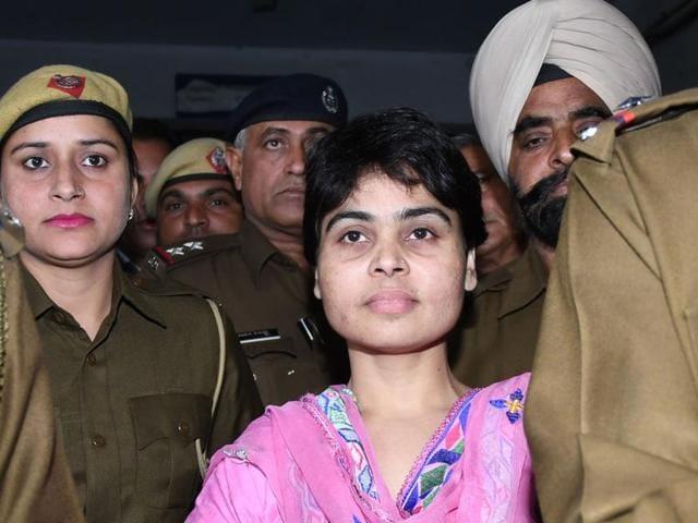 Sadhvi Deva Thakur being produced in the court in Karnal on Friday.