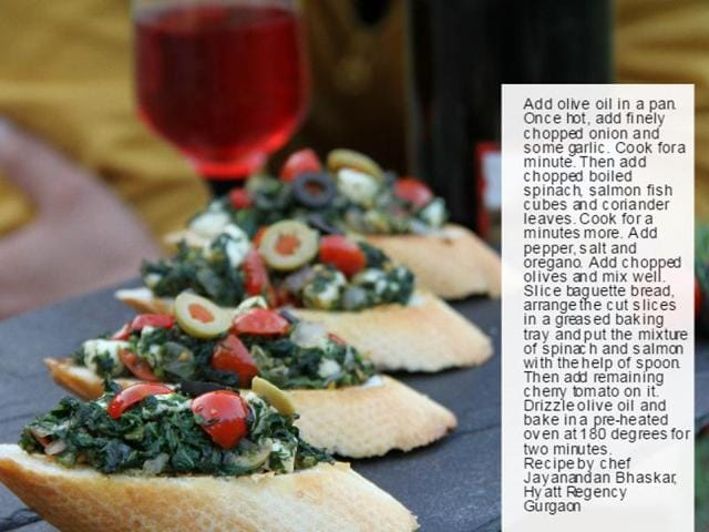 Spinach Salmon Bruschetta by chef Jayanandan Bhaskar.
