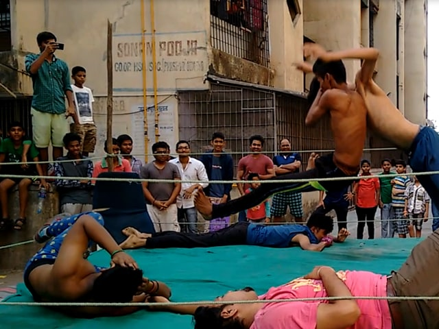 A team of wrestlers in Bhayander who are recreating WWE sets in their backyards