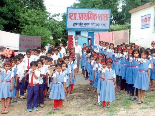 Students at a government school in Bhopal.