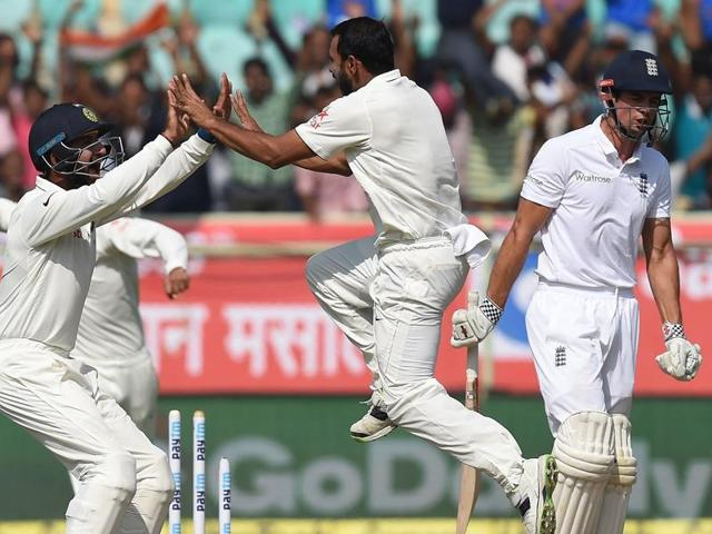 Mohammed Shami got the big wicket of England skipper Alastair Cook for 2 on the second day of the Vizag Test.