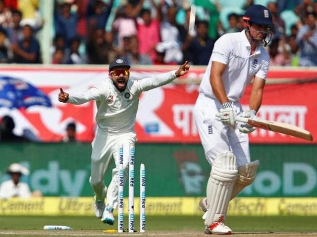 India's Mohammad Shami  celebrates after dismissing England  skipper Alastair Cook on Friday.