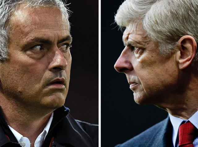 A combination picture shows Manchester United's Portuguese manager Jose Mourinho (left) and Arsenal's French manager Arsene Wenger (right).