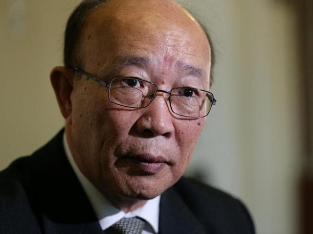 So Se Pyong, North Korea's ambassador to the United Nations in Geneva, gestures during an interview with Reuters at the Permanent Mission of North Korea in Geneva, Switzerland.