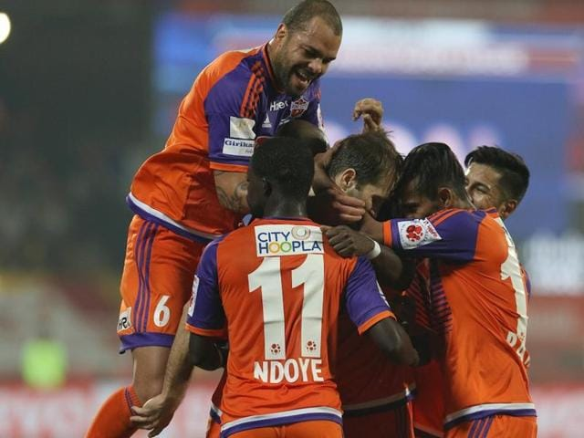 Gouramangi Singh of FC Pune City celebrates a goal. The victory took Pune to the fourth spot , just two behind Delhi Dynamos.