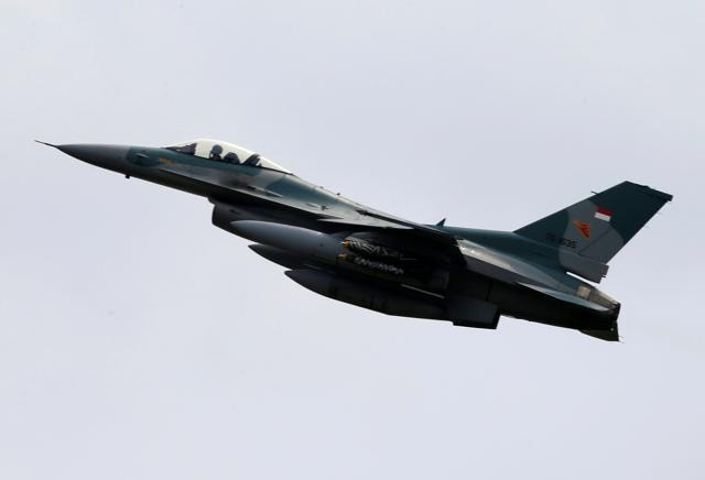 An F16 fighter jet is seen during a military exercise at Ranai military airbase in Natuna Island, Riau Islands province, Indonesia.