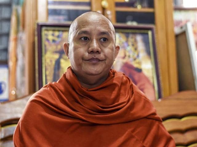 Ashin Wirathu, a high-profile leader of the Myanmar Buddhist organisation known as Ma Ba Tha, at his monastery in Mandalay, Myanmar.