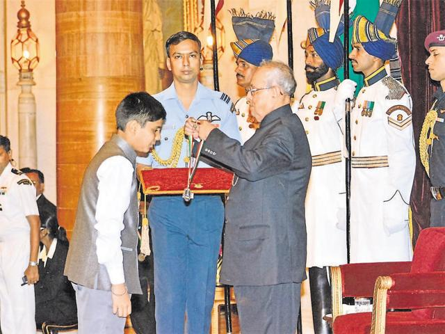 Bhopal-based Ayush Kishore was conferred with the National Children Award-2016 by the President in New Delhi.