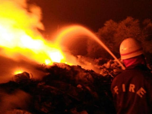 Fire at a plastic scrap market in west Delhi's Mundka area early on Friday. It was brought under control by 30 fire tenders.