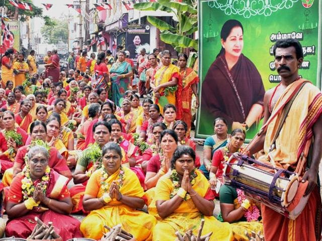 AIADMK members offer special prayers for the speedy recovery of Tamil Nadu chief minister J Jayalalithaa, in Coimbatore.