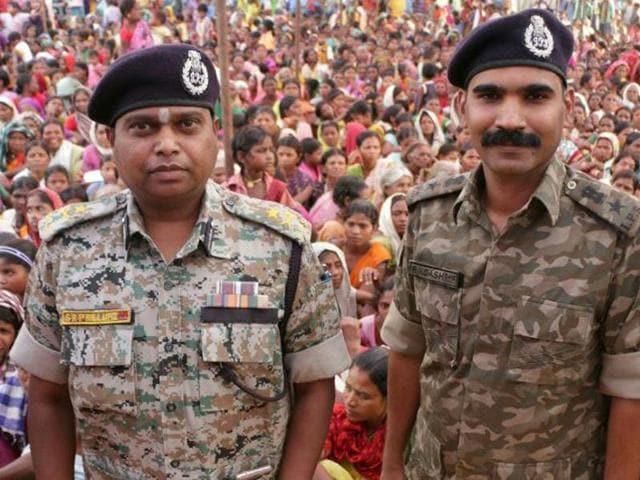 Bastar inspector general of police SRP Kalluri with his SP RN Dash.