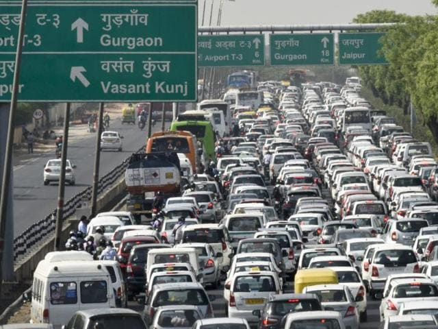 Traffic was disrupted on the Delhi-Gurugram stretch of the busy Delhi-Jaipur-Mumbai National Highway-8 after a vehicle caught fire on Friday.
