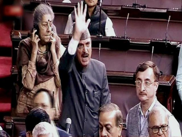 Leader of Opposition Ghulam Nabi Azad along with other members protesting in Rajya Sabha during the winter session of Parliament in New Delhi on Thursday.