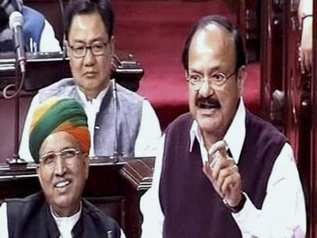Union information and broadcasting minister M Venkaiah Naidu speaks in the Rajya Sabha on the opening of the winter session of Parliament in New Delhi on Wednesday.