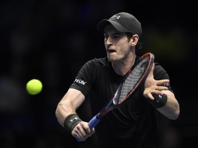 Great Britain's Andy Murray in action during his ATP World Tour Finals semi-final match against Canada's Milos Raonic.