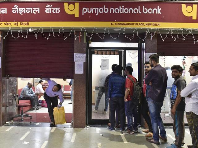 A queue outside the Punjab National Bank at Connaught Place in New Delhi.
