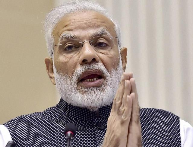 Prime Minister Narendra Modi gestures as he delivers a speech after the awards ceremony of National Awards for Excellence in Journalism, in New Delhi on Wednesday.