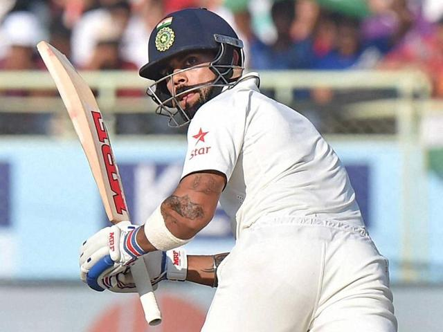 Indian captain Virat Kohli further loosened England cricket team's grip on the Vizag Test by accelerating, attacking Ben Stokes and Adil Rashid on Saturday.