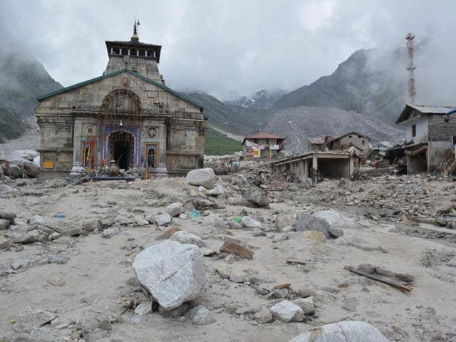 The Kedarnath shrine surrounded by flood debris after the 2013 tragedy.