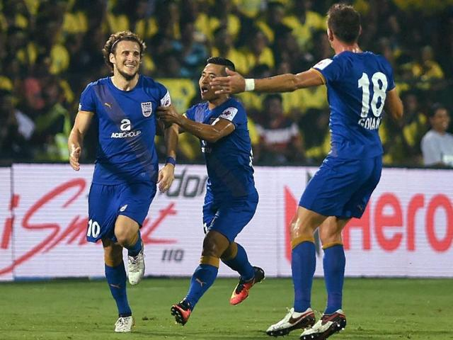 Mumbai City FC captain Diego Forlan celebrates after scoring against Kerala Blasters FC during the Indian Super League (ISL) match on Saturday.