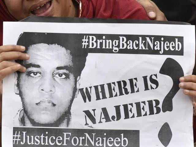 Najeeb's mother protests at the JNU campus in New Delhi.