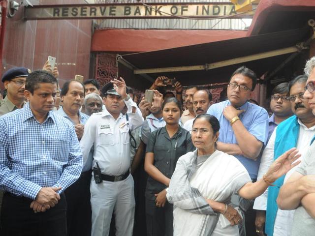 Chief minister Mamata Banerjee visits the RBI office in Kolkata on Saturday.