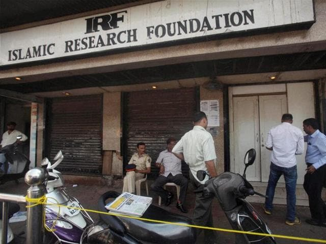 The National Investigation Agency (NIA) and Mumbai Police raid an office of Zakir Naik's Islamic Research Foundation, in Mumbai on Saturday.