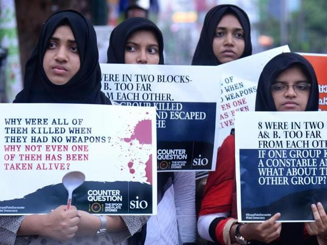 Students Islamic Organisation of India (SIO) activists stage a protest in front of the secretariat in Thiruvananthapuram against the Madhya Pradesh government over the killing of eight SIMI activists who allegedly escaped from a jail in Bhopal.