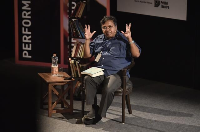Devdutt Pattanaik engages the audience at Tata Lit Fest! at NCPA in Mumbai, on Friday.