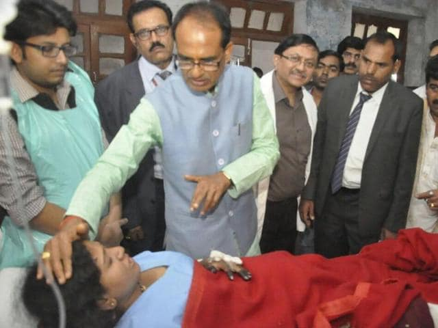 Madhya Pradesh chief minister Shivraj Singh Chouhan visited the injured at LLR Hospital in Kanpur on Sunday.