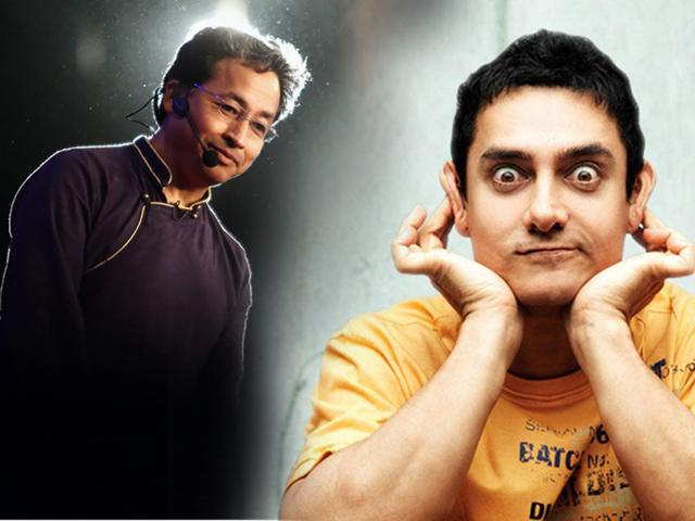 Sonam Wangchuk (left) is popular for being the inspiration for actor Aamir Khan's character Phunsukh Wangdu in the film 3 Idiots (right).